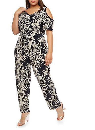Plus Size Tropical Print Cold Shoulder Jumpsuit,NAVY,large