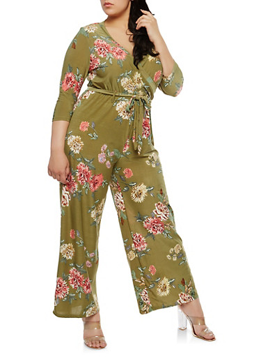 Plus Size Faux Wrap Floral Jumpsuit,OLIVE,large