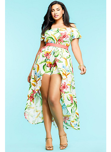 Plus Size Floral Maxi Romper,IVORY/GREEN,large
