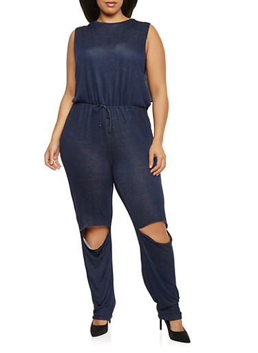Plus Size French Terry Jumpsuit with Knee Slits,NAVY DENIM,large