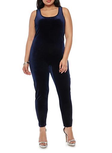 Plus Size Solid Velvet Catsuit,NAVY,large