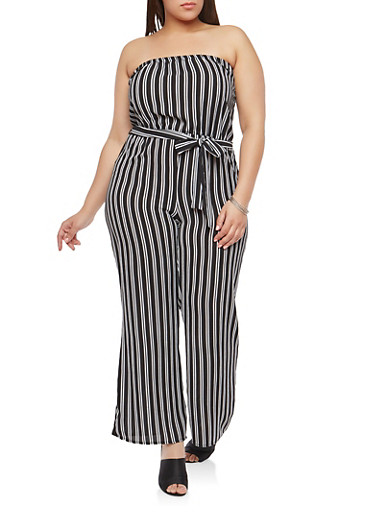 Plus Size Crepe Knit Striped Jumpsuit,BLACK/WHITE,large