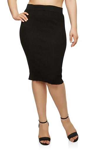 Plus Size Rib Knit Pencil Skirt,BLACK,large