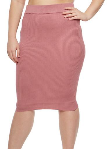 Plus Size Rib Knit Pencil Skirt,MESA ROSE,large