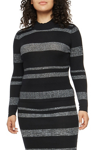 Plus Size Striped Rib Knit Sweater,BLACK,large