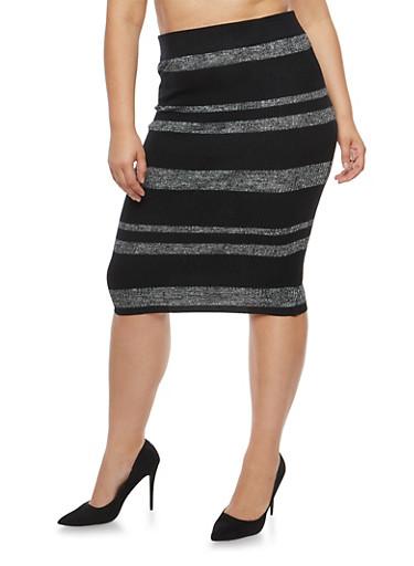 Plus Size Striped Rib Knit Pencil Skirt,BLACK,large
