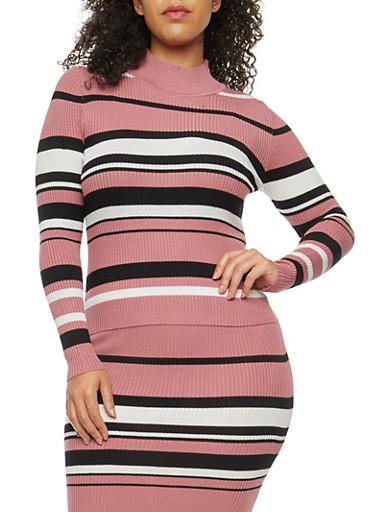 Plus Size Striped Rib Knit Sweater,MESA ROSE,large