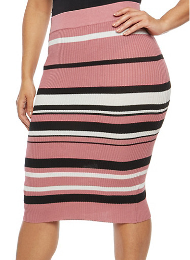 Plus Size Striped Ribbed Knit Skirt,MESA ROSE,large