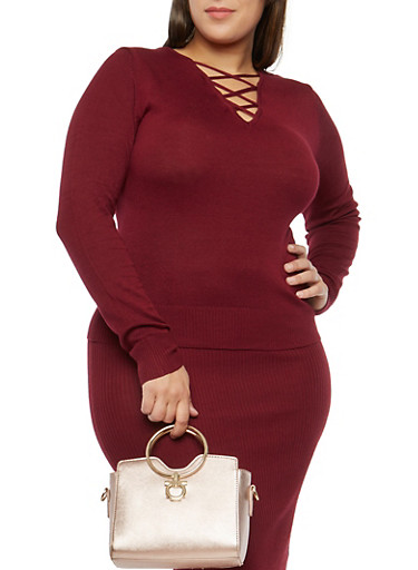 Plus Size Caged Neck Sweater,BURGUNDY,large