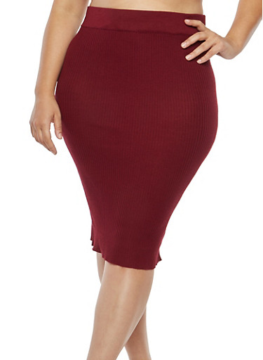 Plus Size Ribbed Knit Pencil Skirt,BURGUNDY,large