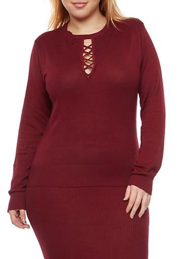 Plus Size Caged Keyhole Neck Sweater,WINE,large
