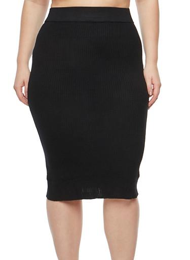 Plus Size Sweater Knit Pencil Skirt,BLACK,large