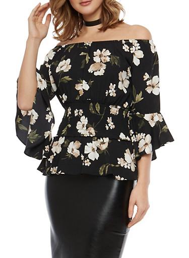 Floral Smock Waist Off the Shoulder Top,BLACK,large