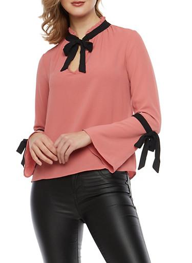 Crepe Knit Contrast Tie Blouse,MAUVE/BLK,large