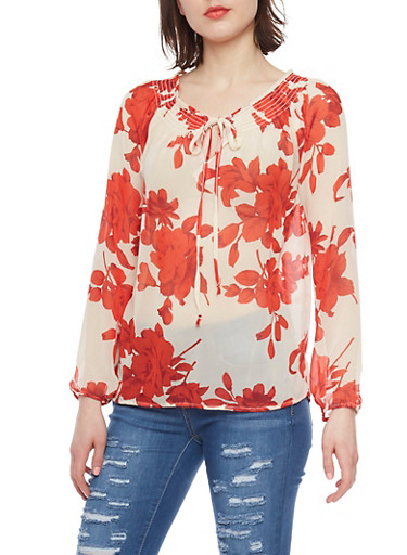 Long Sleeve Sheer Floral Blouse with Keyhole,RED,large