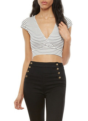 Striped Surplice Crop Top with Cap Sleeves,WHITE,large