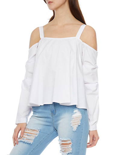 Cold Shoulder Ruched Long Sleeve Top,OFF WHITE,large