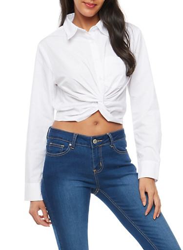 Twist Button Front Shirt,WHITE,large