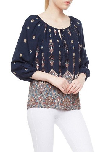 Paisley Boho Peasant Top With Tassel Tie Neck,NAVY,large