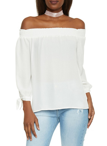 Off The Shoulder Long Sleeve Blouse,IVORY,large