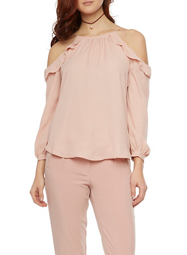 Ruffle Cold Shoulder Top with Spaghetti Straps,MAUVE,large