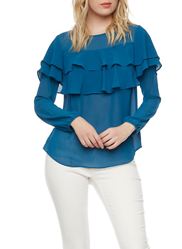 Chiffon Blouse with Tiered Ruffle Accent,TEAL,large