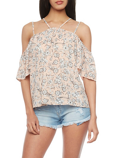 Floral Double Strap Cold Shoulder Top,PINK,large