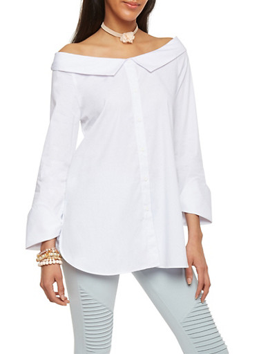 Off Shoulder Button Up Long Sleeve Top,WHITE,large