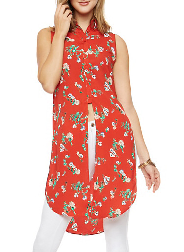 Floral Sleeveless Button Front Maxi Top,RED,large