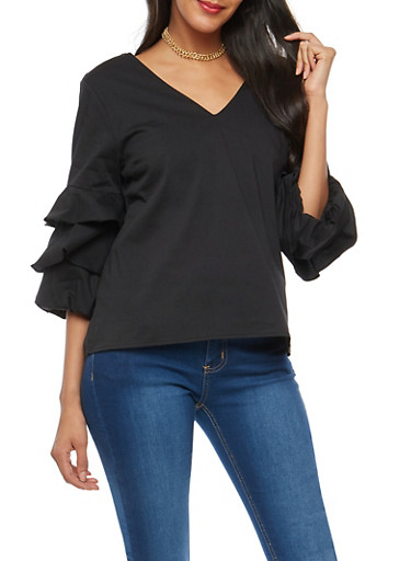 Tiered Sleeve Open Back Top,BLACK,large