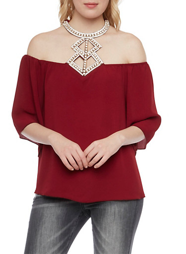 Off the Shoulder Top with Crystal Halter Neck,WINE,large