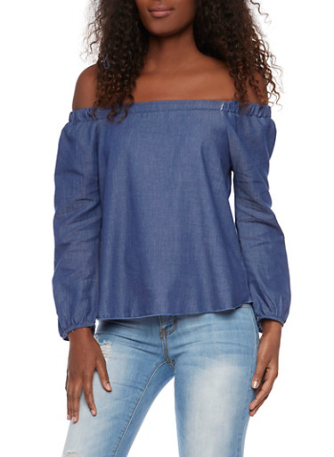 Off the Shoulder Top in Chambray,BLUE,large