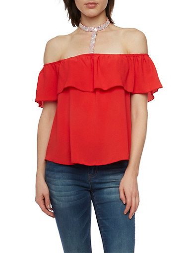 Off The Shoulder Top with Crystal Choker Panel,RED,large
