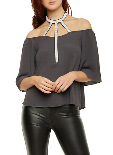 Off The Shoulder Top with Crystal Halter Paneling,GRAY,large