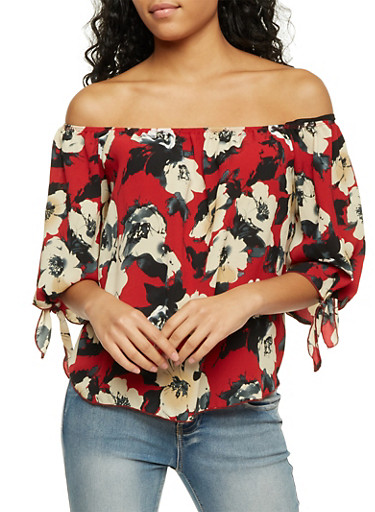 Off the Shoulder Swing Top with Floral Print,RED,large