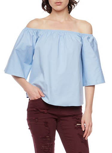 Off the Shoulder Swing Top with Bell Sleeves,BLUE,large