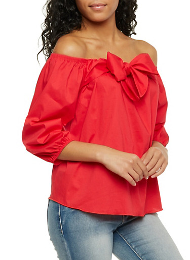 Off The Shoulder Top with Wrap Front,RED,large