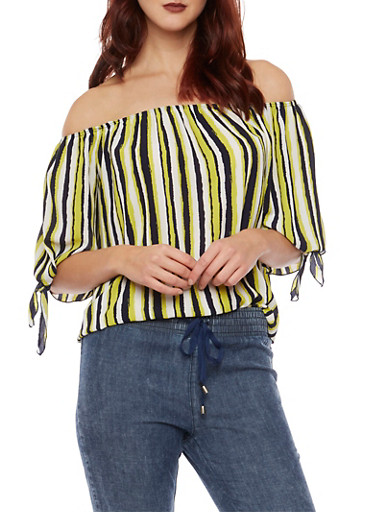 Striped Off the Shoulder Top with Tie Sleeves,LIME,large