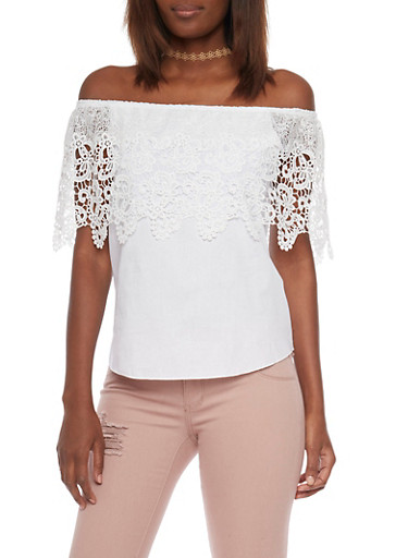 Off the Shoulder Crochet Overlay Top,WHITE,large