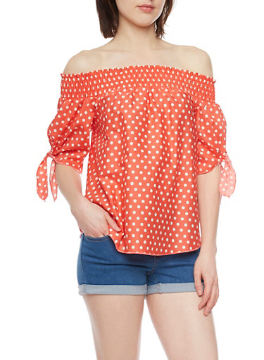 Off the Shoulder Polka Dot Top with Tie Sleeves,RED,large