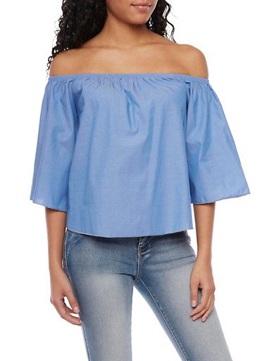 Chambray Off the Shoulder Top,LIGHT WASH,large