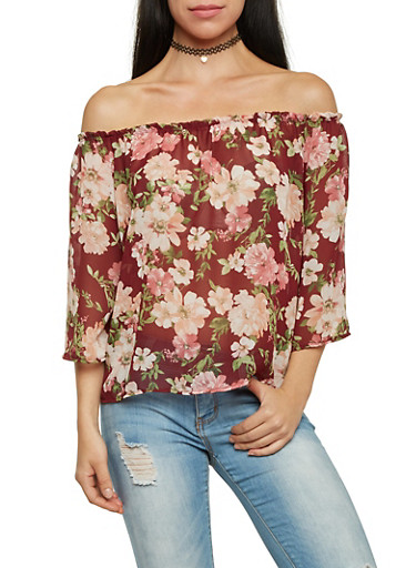 Off The Shoulder Chiffon Top with Floral Print,BURGUNDY,large