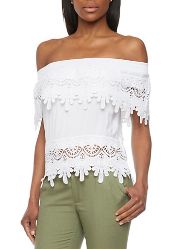 Crochet Off The Shoulder Top,WHITE,large