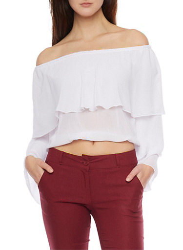 Off the Shoulder Layered Crop Top,WHITE,large