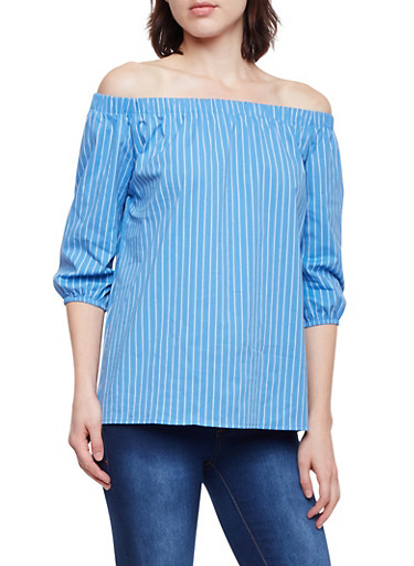 Striped Off the Shoulder Top,BLUE,large