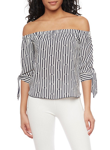 Crepe Knit Striped Off The Shoulder Top with Tie Sleeves,NAVY,large