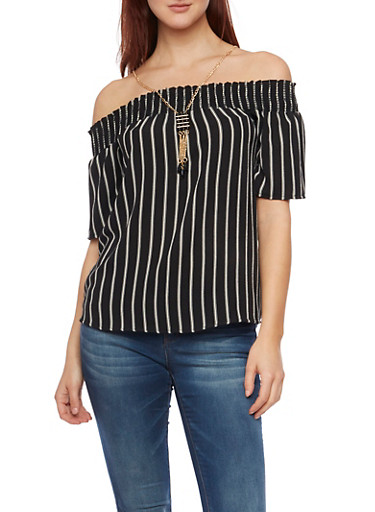 Striped Off the Shoulder Top with Necklace,BLACK/WHITE,large