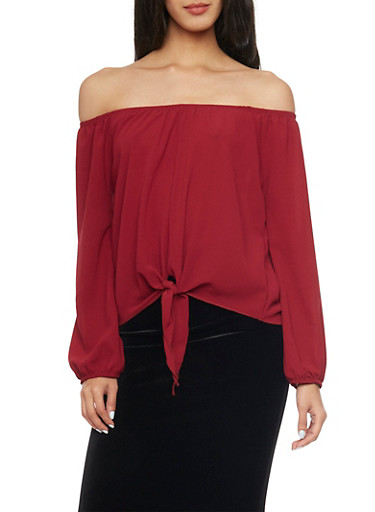 Long Sleeve Off The Shoulder Top with Tie Hem,BURGUNDY,large