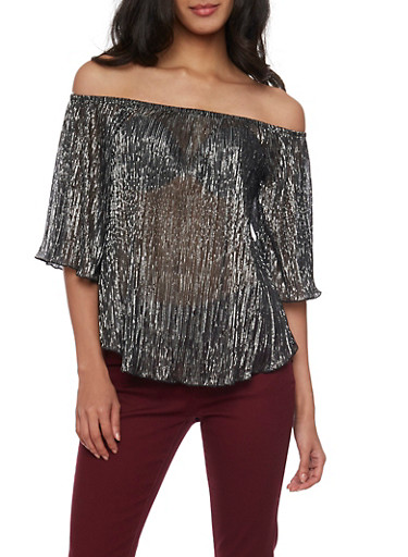 Metallic Off The Shoulder Top with Three Quarter Sleeves,GRAY,large
