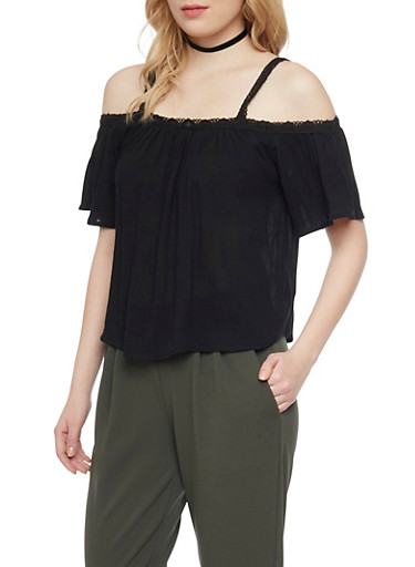 Crinkle Gauze Cold Shoulder Top,BLACK,large